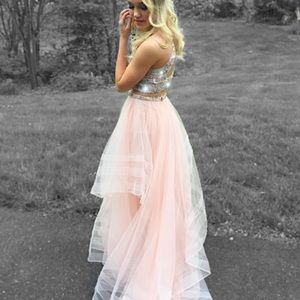 Elegant rose pink ball gown style cropped dress